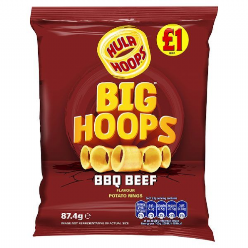 Hula Hoops Big Hoops BBQ Beef Flavour Potato Rings 87.4g
